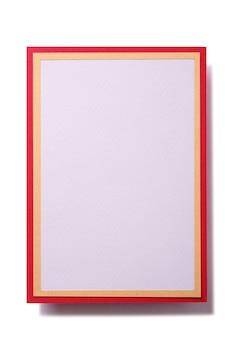 Tarjeta de regalo de navidad en blanco marco de oro rojo vertical