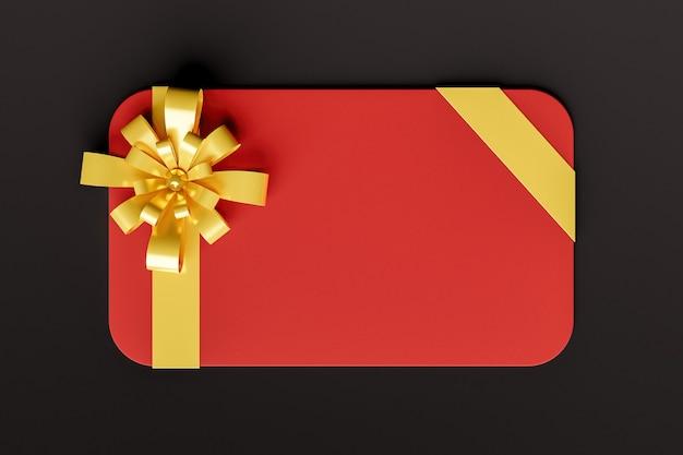 Tarjeta de regalo roja con cinta dorada sobre fondo negro