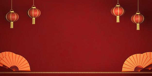 Tarjeta de representación 3d feliz año nuevo chino, linterna china sobre fondo rojo