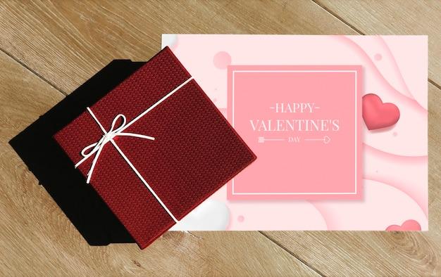 Tarjeta de san valentín feliz con caja de regalo