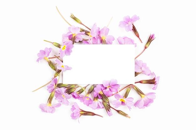 Tarjeta vacía y composición floral con flores lilas y púrpuras sobre fondo blanco. vista plana endecha, superior. maqueta de flores