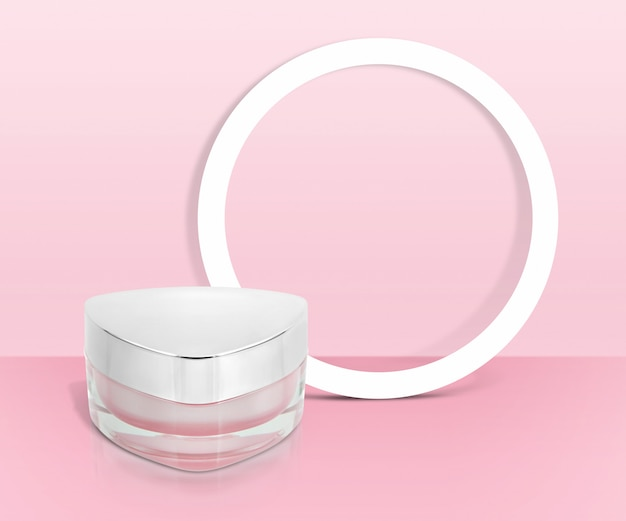 Tarro cosmético triángulo rosa con marco circular