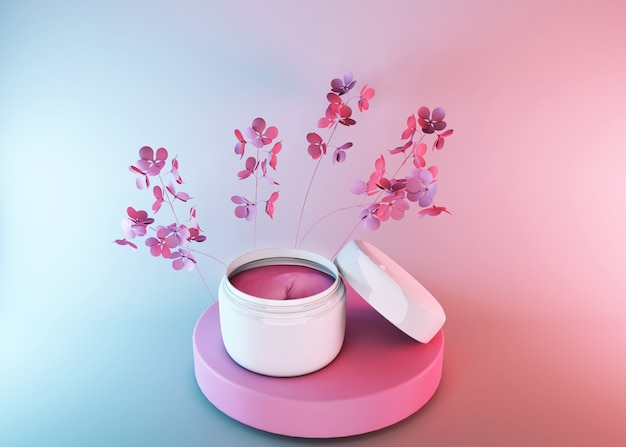 Tarro de cosméticos 3d, producto cosmético de belleza para el cuidado femenino en superficie degradada azul rosa con flores de primavera, diseño de paquete de crema facial. inspiración de identidad y empaque