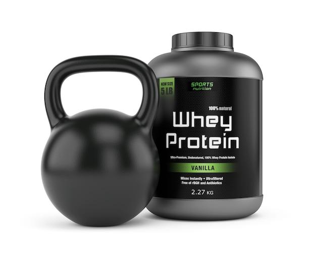 Tarro de proteínas y pesas rusas