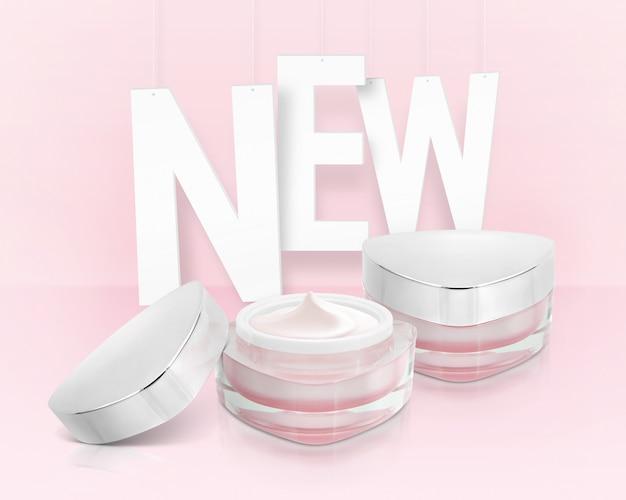 Tarros cosméticos triángulo rosa con nueva inscripción
