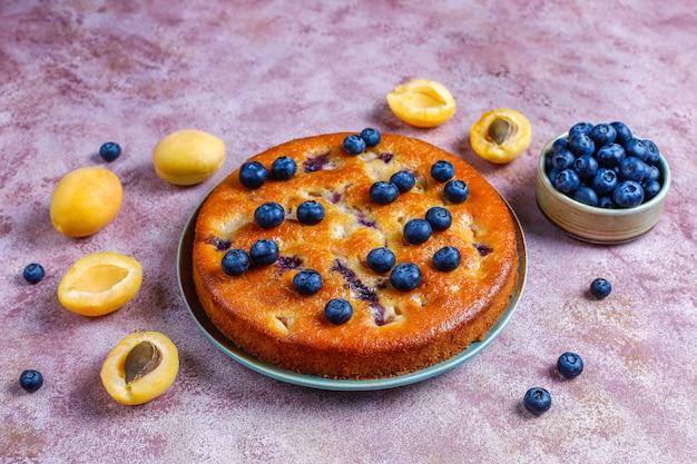 Tarta de albaricoque y arándanos con arándanos frescos y frutas de albaricoque