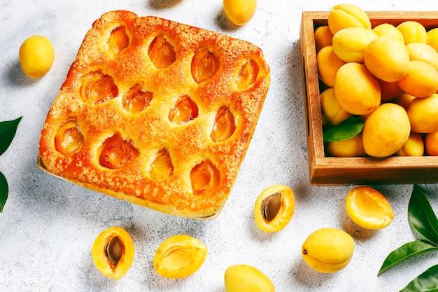 Tarta de albaricoque de verano postre de frutas deliciosas caseras. tartaleta de albaricoque. pastel de fruta.