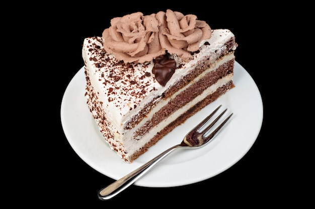 Tarta cremosa y de chocolate.