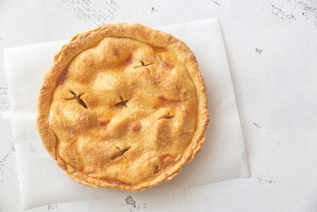 Tarta de manzana en el pergamino