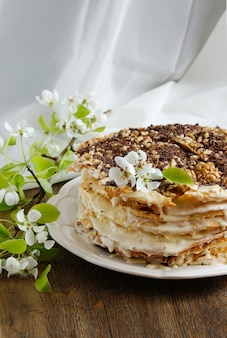 Tarta napoleón - tarta multicapa con crema