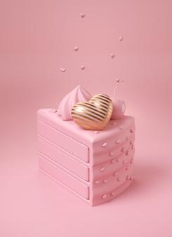 Tarta rosa con corazón de oro a rayas de lujo y cerezas rosadas