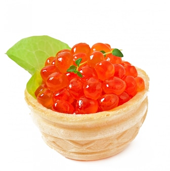 Tartaletas con caviar rojo