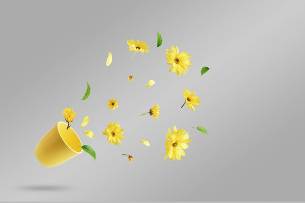 Taza amarilla con flores amarillas voladoras sobre una mesa gris. el concepto de primavera.