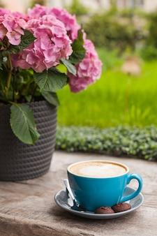 Taza azul de café con leche con galletas en superficie de madera cerca de maceta rosa