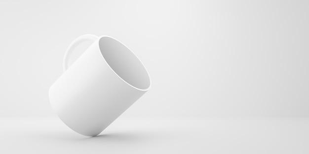Taza blanca clásica y levitación de vista frontal sobre fondo blanco con estilo de maqueta de plantilla en blanco. taza vacía o taza de bebida. representación 3d