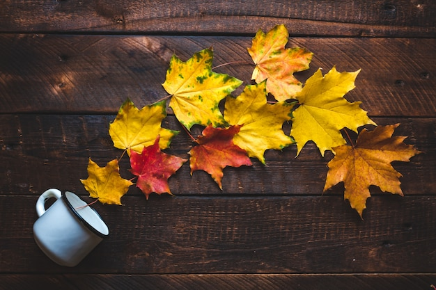 Taza blanca y hojas de arce otoñal. concepto de otoño