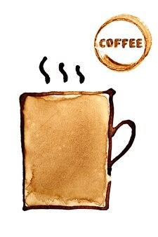 Taza de café esbozada en café