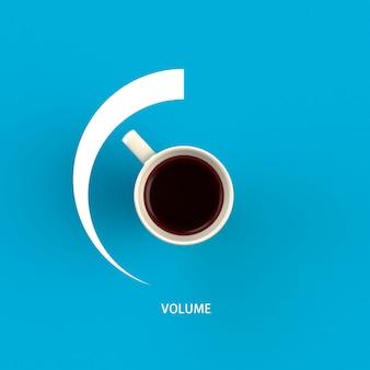 Taza de café en forma de control de volumen