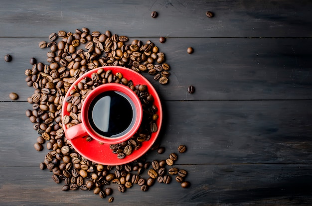 Taza de café y frijoles