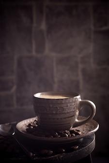 Taza de café con frijoles