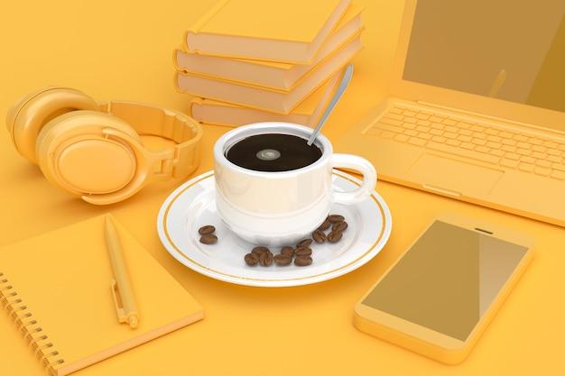 Taza de café con granos de café begirt por teléfono móvil, libros, laptop, bloc de notas y auriculares en clave amarilla sobre fondo amarillo. representación 3d