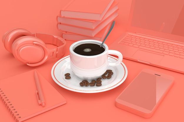 Taza de café con granos de café begirt por teléfono móvil, libros, laptop, bloc de notas y auriculares en clave rosa sobre fondo rosa. representación 3d