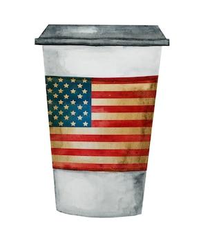 Taza de café hermosa con la bandera americana pintada.