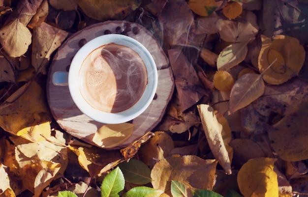 Taza de café negro en medio del follaje otoñal