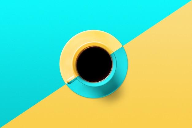 Taza de café sobre un fondo de color turquesa