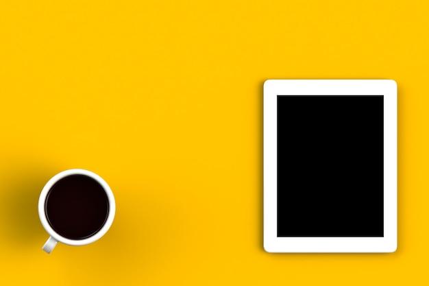 Taza de café con tableta sobre fondo amarillo, vista superior con copyspace para su texto, 3d ren