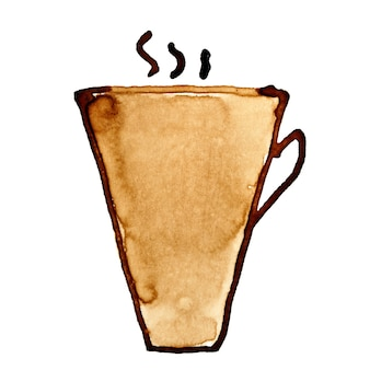 Taza de café con vapor esbozado en café