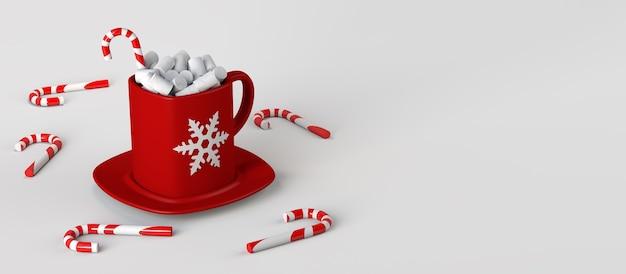 Taza de chocolate con malvaviscos y bastón de caramelo. bebida navideña. copie el espacio. ilustración 3d.