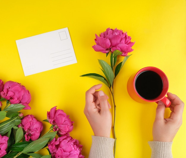 Taza de crema roja con café negro en manos femeninas