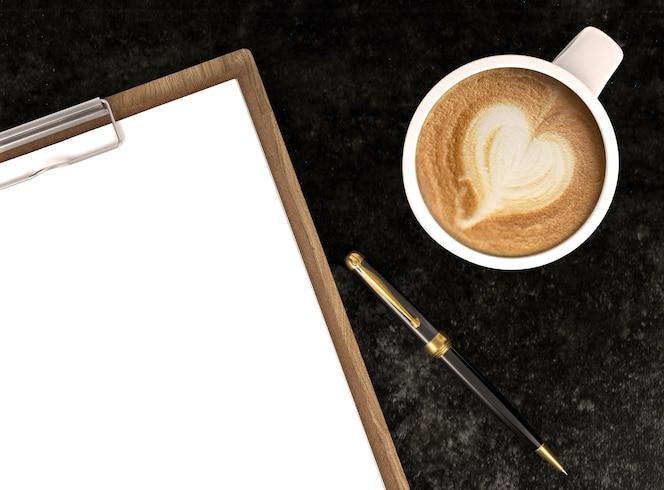 Taza de café capuchino con papeles en blanco en el portapapeles y bolígrafo