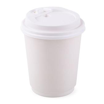 Taza de café para llevar del libro blanco aislada en un fondo blanco