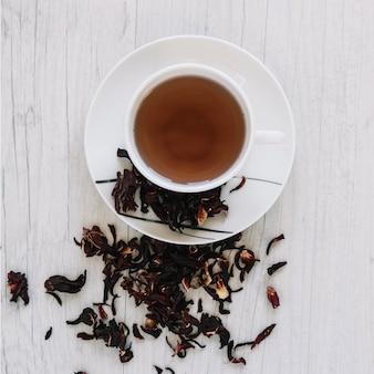 Taza de té y hojas de té secas