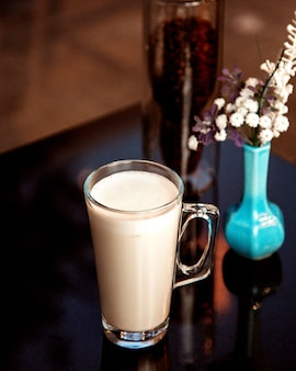 Taza de leche caliente con espuma