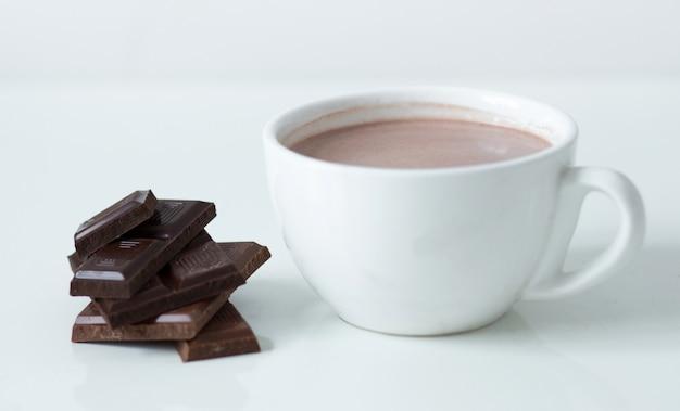 Taza de leche con chocolate