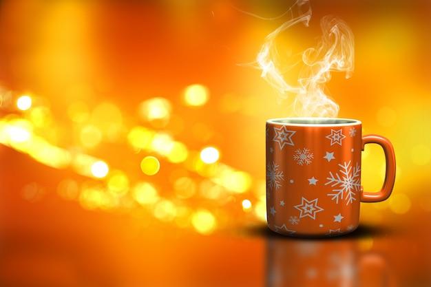 Taza de la navidad en un fondo de luces del bokeh