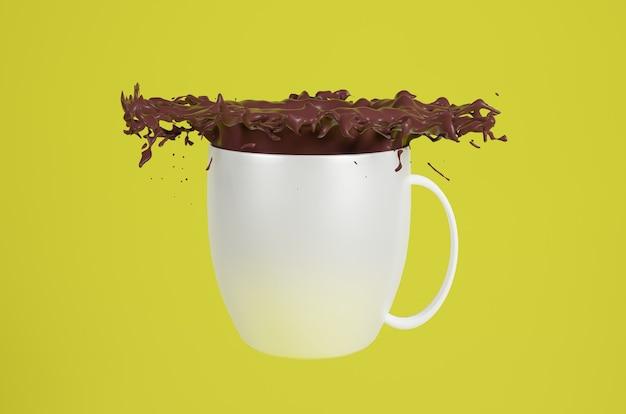 Taza de renderizado 3d con líquido chocolato splash