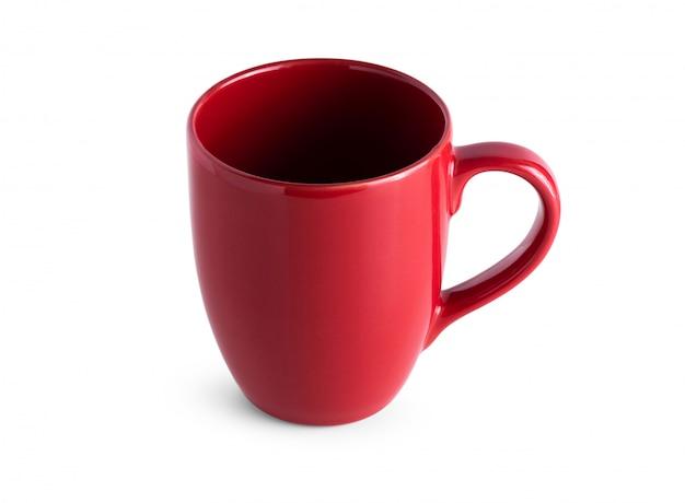 Taza roja sobre blanco