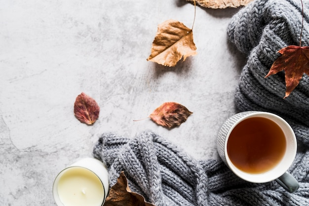 Taza de té y bufanda entre hojas