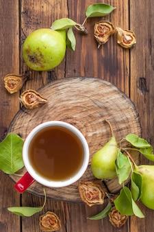 Taza de té con canela y menta
