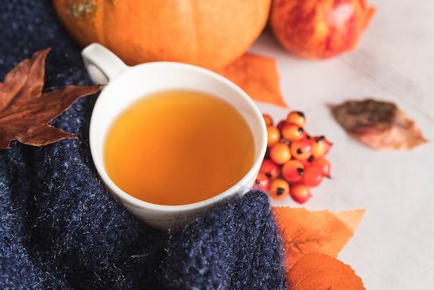 Taza con té cerca de bufanda tejida y bayas