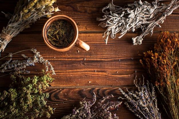 Taza de té de hierbas con plantas
