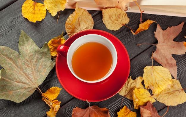 Taza de té y hojas de otoño sobre la mesa