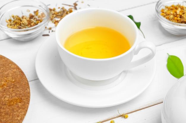 Taza de té y hojas de té en la mesa de madera blanca. de cerca.