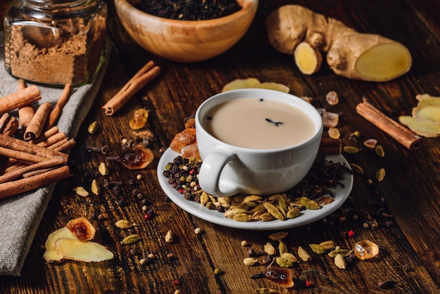 Taza de té de masala indio