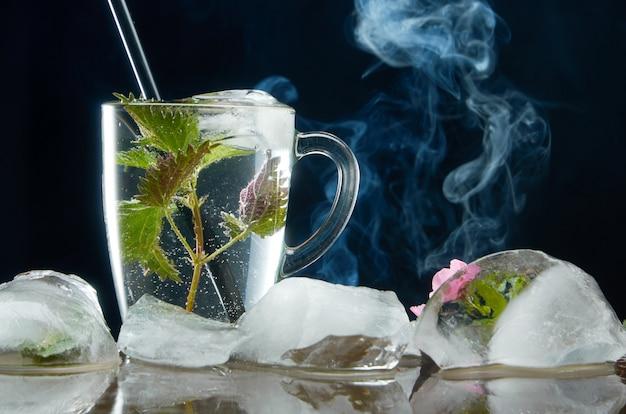 Taza de té de ortiga medicinal con ortiga y hojas de hielo en negro y humo