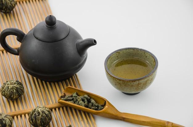 Tazas de té del oolong chino con la caldera tradicional en el fondo blanco